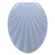 Сидение для унитаза пластик Ракушка голубая (длина 451мм, ширина 370мм, материал пластик, нанесен объемный орнамент «Ракушка» на откидной крышке унитаза)