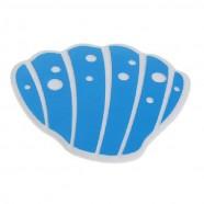 Мини-коврик для ванной комнаты РАКУШКА бело-голубая 11*10см  (на присосках) 1шт