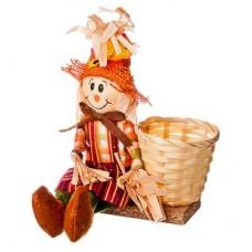 Чучело-кашпо в шапке, 2 цвета, 23см, солома, полиэстер арт.153-042