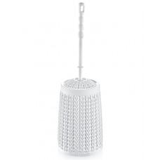 Длинный Ёршик для туалета Вязаный узор белый 56*42*46см арт.11138