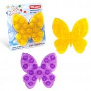 Набор мини-ковриков для ванной комнаты МОТЫЛЁК на присосах, цвет микс: жёлтый,фиолетовый, 13*12.7см набор 6шт