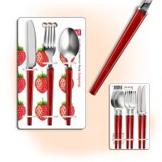 Набор столовых приборов 9 шт., ELS RMK-9s, ложка ст., вилка, нож, на 3 перс, STRAWBERRY, непрозрачные