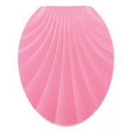 Сидение для унитаза пластик Ракушка розовая (длина 451мм, ширина 370мм, материал пластик, нанесен объемный орнамент «Ракушка» на откидной крышке унитаза)