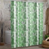 Шторы для ванн MIRANDA KARE зеленый 200*180см (полиэстер ткань)