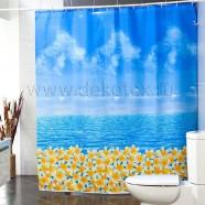 Шторы для ванн MIRANDA OCEAN FRESH голубой  200*180см (полиэстер ткань)