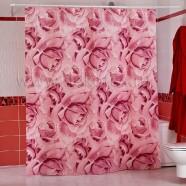 Шторы для ванн MIRANDA ROSES розовый 200*180см (полиэстер ткань)