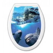 """Сиденье для унитаза AQUA-PRIME Фотопринт """"Дельфины в океане"""""""