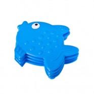 Мини-коврик РЫБКА голубая присосках для ванной комнаты 1шт