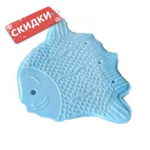 Мини-коврик РЫБКА-КАМБАЛА голубая на присосках для ванной комнаты 1шт