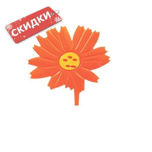 Мини-коврик ЦВЕТОЧЕК оранжевый на присосах 1шт