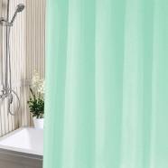 Занавес для ванной комнаты полиэтилен А-Стиль 180х180 зеленый, кольца в комплекте