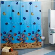 Шторы для ванн MIRANDA RED SEA голубой 200*180см (полиэстер ткань)
