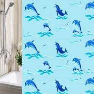 Шторы для ванны 180х180см Дельфины голубые, полиэтилен А-Стиль (Россия), кольца в комплекте