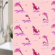 Шторы для ванны 180х180см Дельфины розовые, полиэтилен А-Стиль (Россия), кольца в комплекте