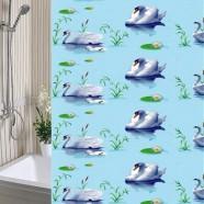 Шторы для ванны 180х180см Лебеди, полиэтилен А-Стиль (Россия), кольца в комплекте