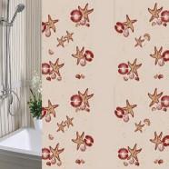 Шторы для ванны 180х180см Морская Звезда бежевая, полиэтилен А-Стиль (Россия)