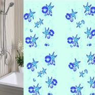 Шторы для ванны 180х180см Морская Звезда голубая, полиэтилен А-Стиль (Россия), кольца в комплекте