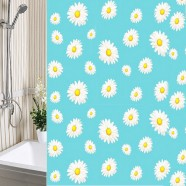 Шторы для ванны 180х180см Ромашки голубые, полиэтилен А-Стиль (Россия), кольца в комплекте
