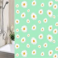 Шторы для ванны 180х180см Ромашки зеленые, полиэтилен А-Стиль (Россия), кольца в комплекте