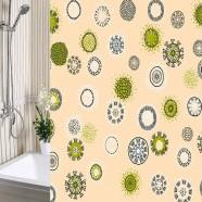 Шторы для ванны 180х180см Одуванчики бежевые, полиэтилен А-Стиль (Россия), кольца в комплекте