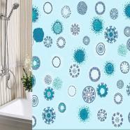 Шторы для ванны 180х180см Одуванчики голубые, полиэтилен А-Стиль (Россия), кольца в комплекте