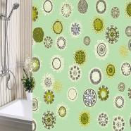 Шторы для ванны 180х180см Одуванчики зеленые, полиэтилен А-Стиль (Россия), кольца в комплекте